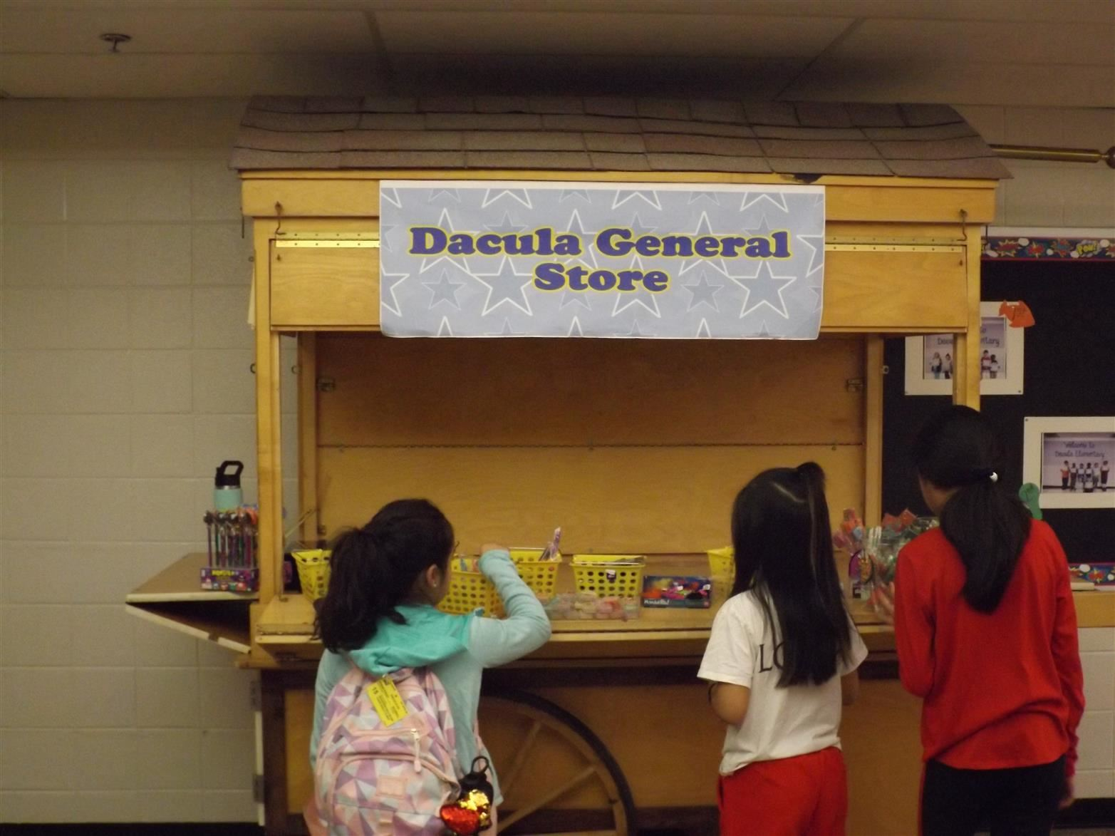 Students shopping at the school store