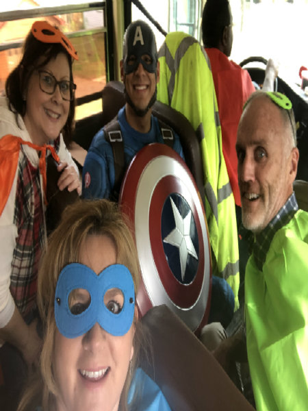 Superheroes Delivering Lunches